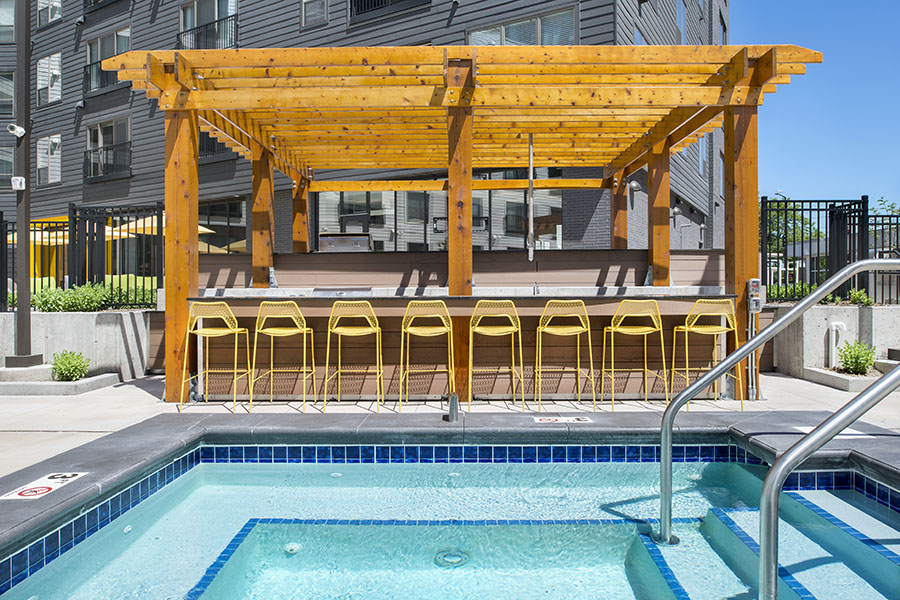 Outdoor Pool, Hot Tub & Pergola featuring Grills